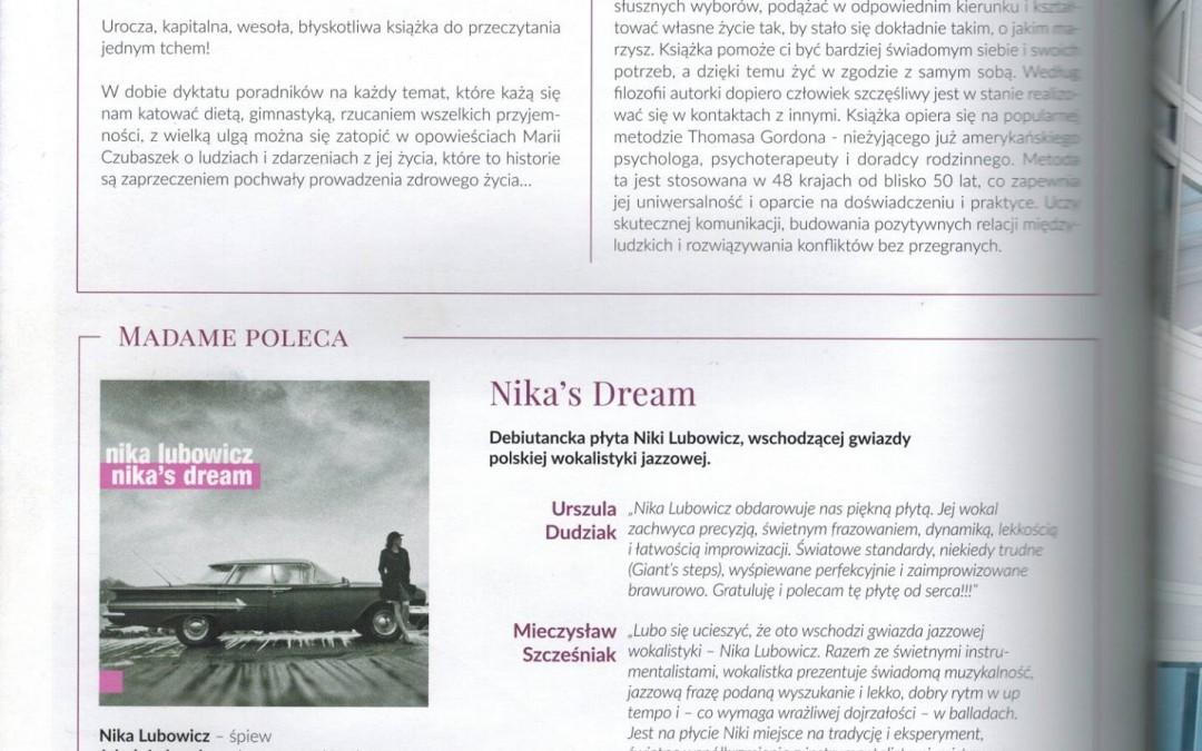 """Dwumiesięcznik Madame o płycie """"Nika's Dream"""""""