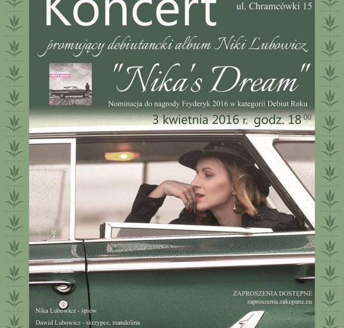 """Koncert promujący debiutancki album """"Nika's Dream"""" w Teatrze Witkacego w Zakopanem"""